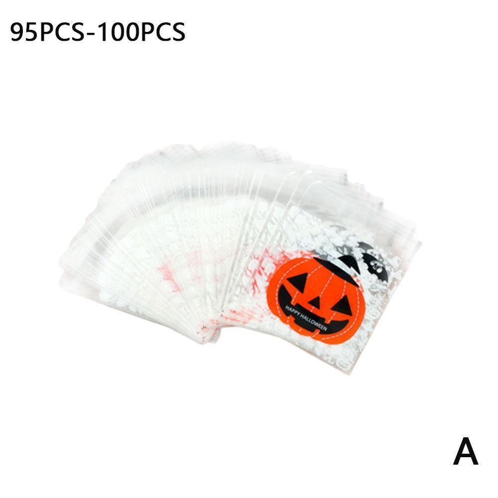 95-100pcs Halloween Pumpkin Cookies Bolsa autoadhesiva Ghost Elf Candy Bag Snack