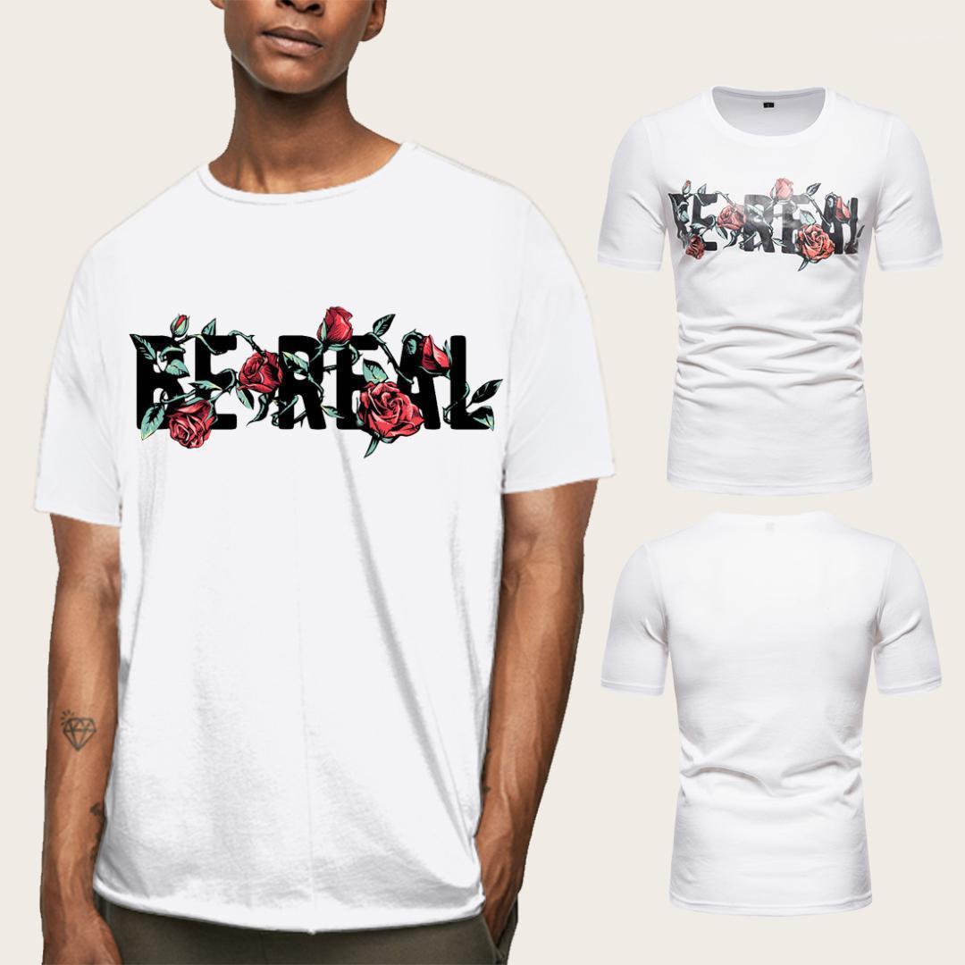 Carta Imprimir Tees Summer manga curta Tops Masculino Vestuário Crew Neck Mens Designer camiseta solta pulôver Rose