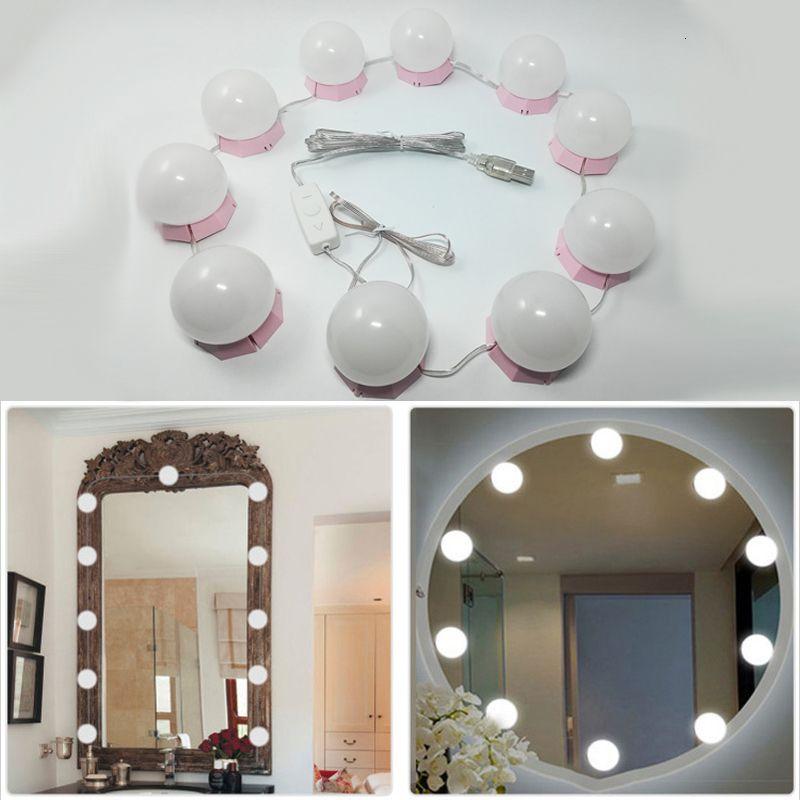 Makeup Mirror Vanity LED Light Bulbs Kit USB Charging Port Cosmetic Lighted Bulb Profession Makeup Mirrors Brightness Lights D43 SH190925