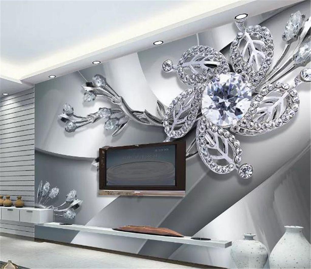 Custom Photo 3d Wallpape Cool Metal Texture Diamond 3d Jewels Living Room TV Background Wall Decoration Mural Wallpaper