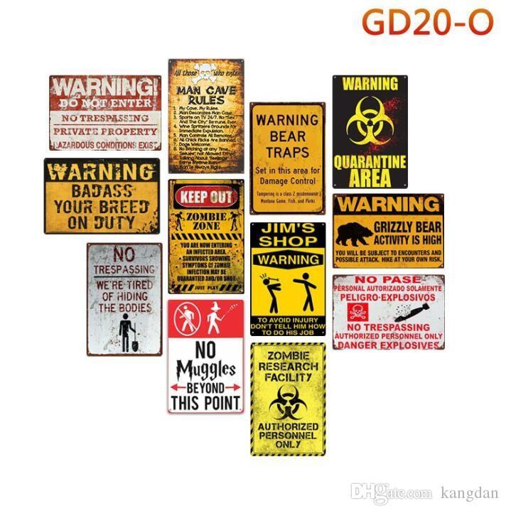 avvertimento tenere fuori zona zombie segno di latta uomo caverna regola muro poster no babbani oltre questo punto nessun piatto di metallo pase home decor