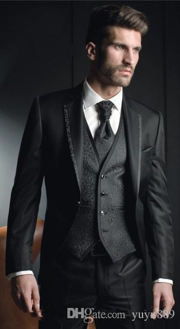 وصول جديدة زر واحد العريس البدلات الرسمية السوداء رفقاء العريس الشق التلبيب أفضل رجل السترة رجل الدعاوى الزفاف (سترة + سروال + سترة + التعادل)