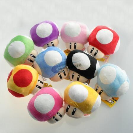 6CM 슈퍼 마리오 브라더스 루이지 요시 두꺼비 버섯 버섯은 키 체인 애니메이션 액션 아이들이 선물을 brithday를위한 장난감 피규어 봉