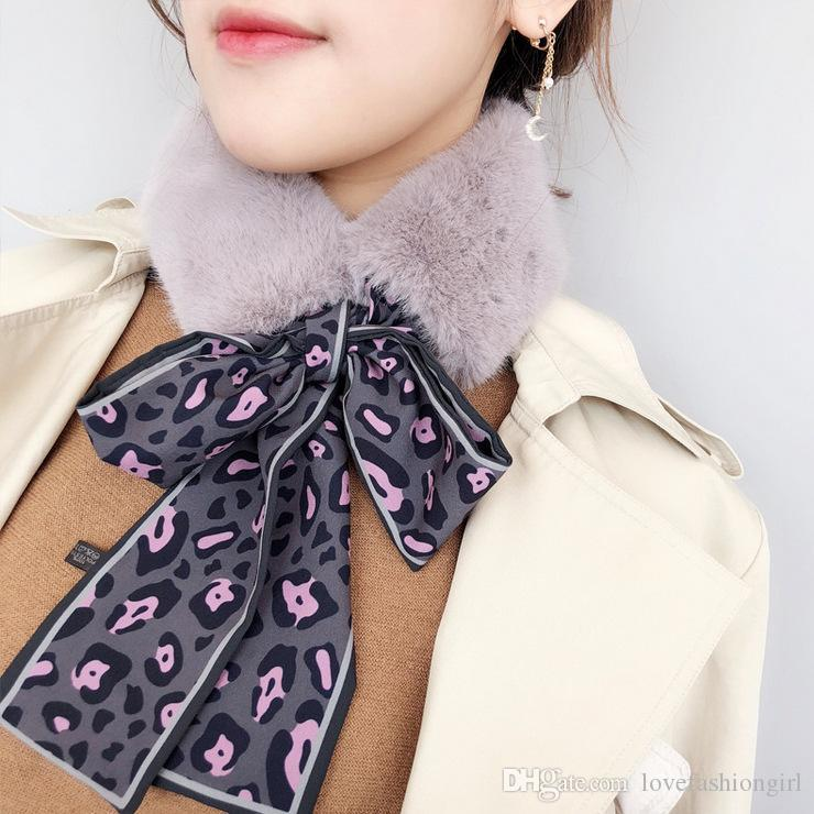 2018 Autumn and Winter Scarf Brand New Fashion High Quality Leopard Print Ribbon Wraps Wholesale Warm Plush Scarves Free Shipping LSF055