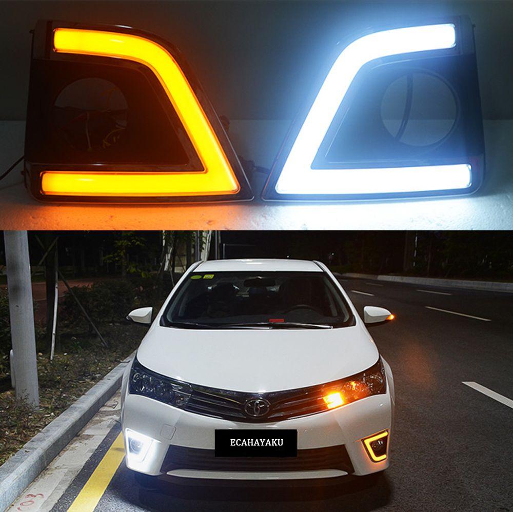 ECAHAYAKU 1 Conjunto drl Para Toyota Corolla 2014 2015 2016 LED DRL Luzes Diurnas luzes de Nevoeiro com luz de sinalização de luz amarela