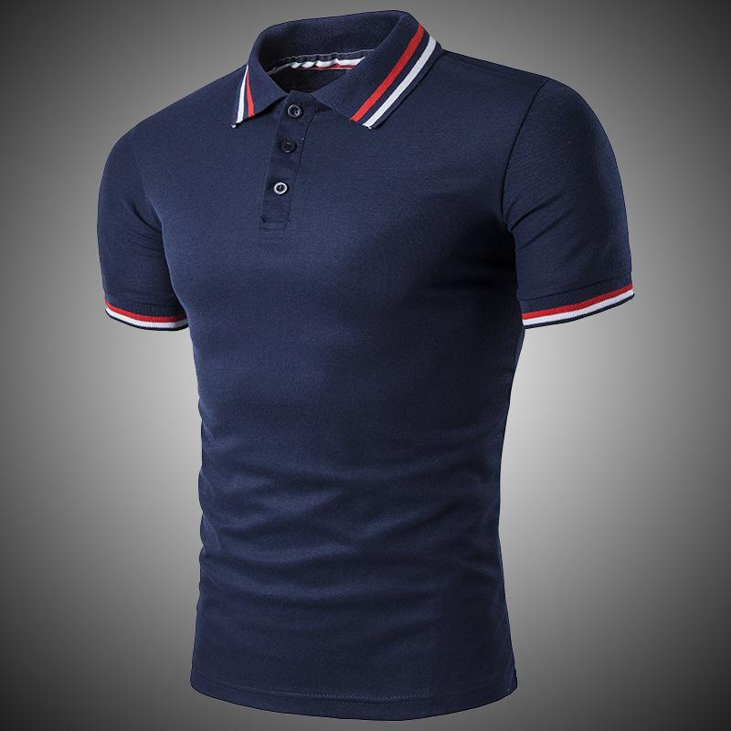 Classic Short Sleeve Solid Cotton Breathable Casual Polo Shirt Slim Men Navy Blue Gray White Black D2718 C19041501