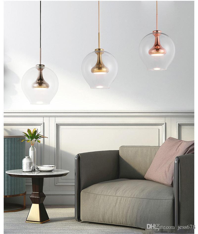 Modern Altın Siyah Kolye Işık Bırak Cam LED Lamba D23CM Yatak Odası Yemek Odası Süspansiyon Evi Lighting EMS