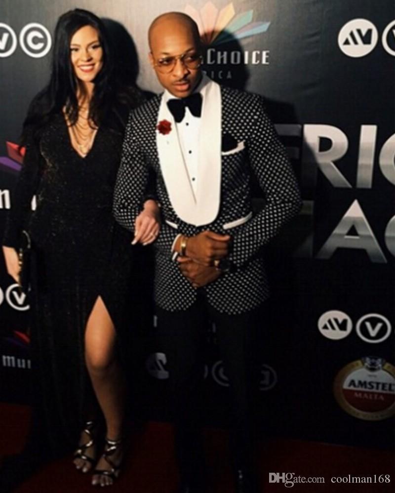 블랙 화이트 포인트 남자 웨딩 턱시도 어깨 걸이 옷깃 신랑 턱시도 가을 겨울 스타일 드레스 남자 비즈니스 디너 / Darty Suit (Jacket + Pants + Tie) 32