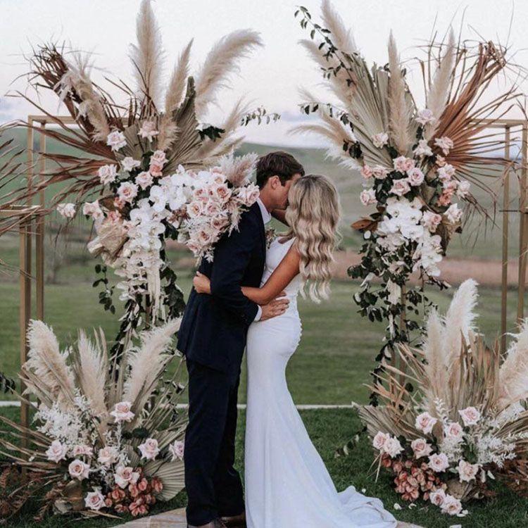 20Pcs / lotto Phragmites all'ingrosso naturale secchi decorativi Pampas Erba per la decorazione domestica fiore di cerimonia nuziale Mazzo 56-60cm