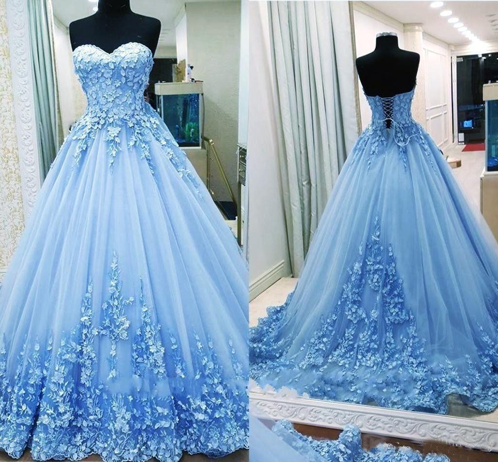 2019 볼 가운 댄스 파티 드레스 연인 아플리케 명주 등이없는 붕대 라이트 블루 이브닝 가운 성인식 드레스 달콤한 16 드레스