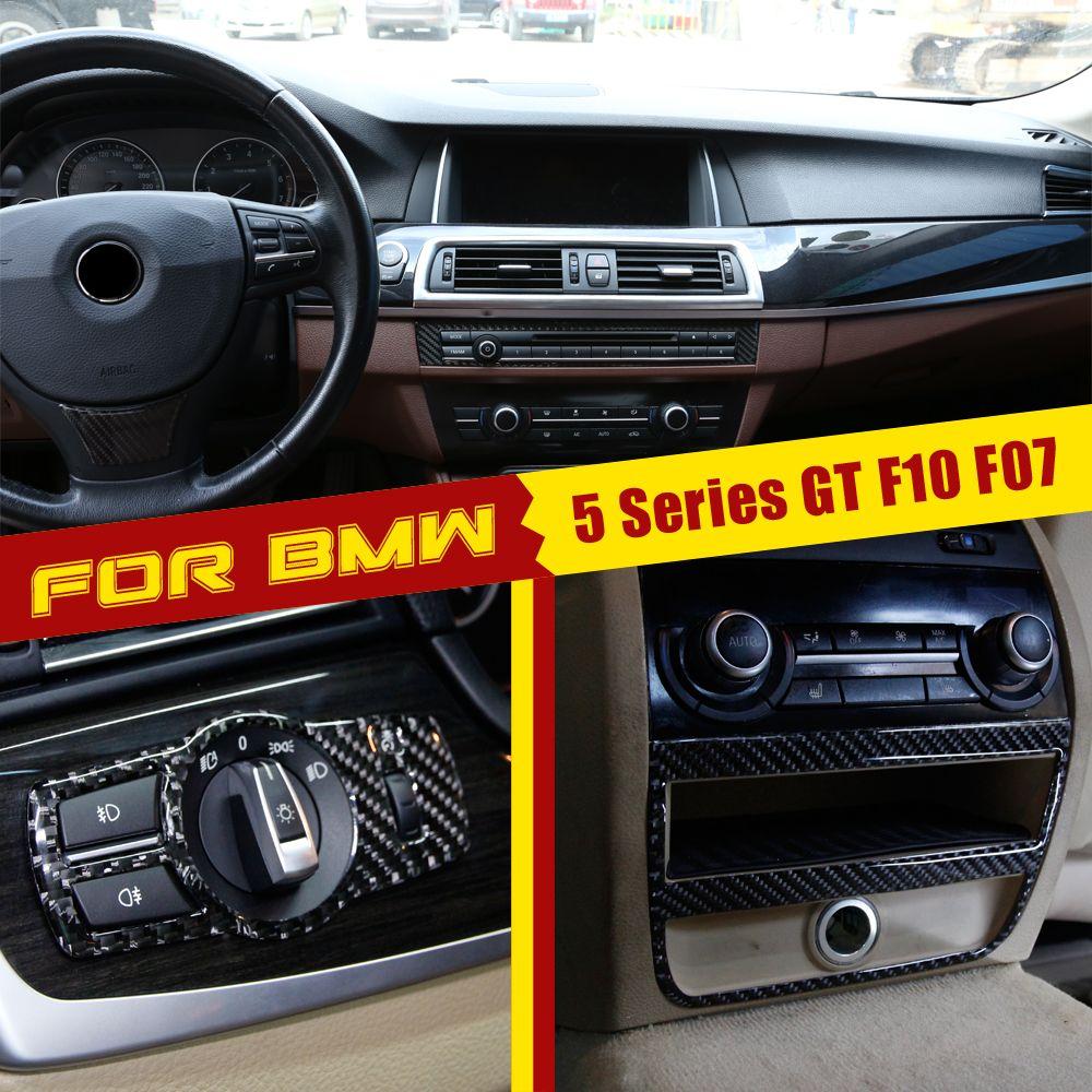 fibra de carbono Auto Painel de Controle Adesivos Volante da etiqueta para a BMW 5/6 série GT F10 F07 E60 X3 E83 E63 X5 E53