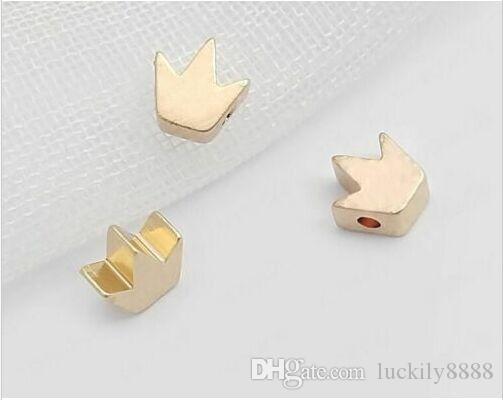 100 pçs / lote Crown Bead banhado a Ouro espaçador Beads Jewerly Acessórios para Fazer Jóias 5mm
