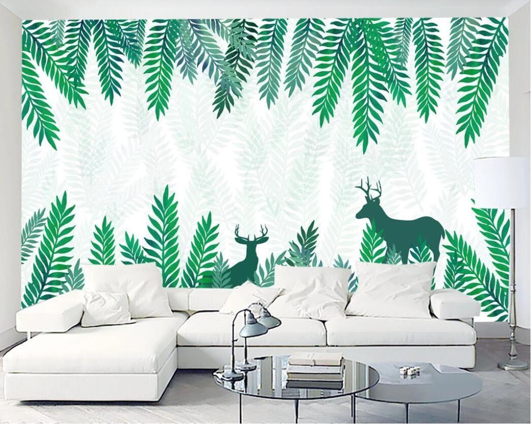 3D خلفية مخصصة الصور الجدارية الغابات الخضراء من المعاصر والتعاقد شمال أوروبا الرياح تسمر TV إعداد ديكور جدار الصور الفن