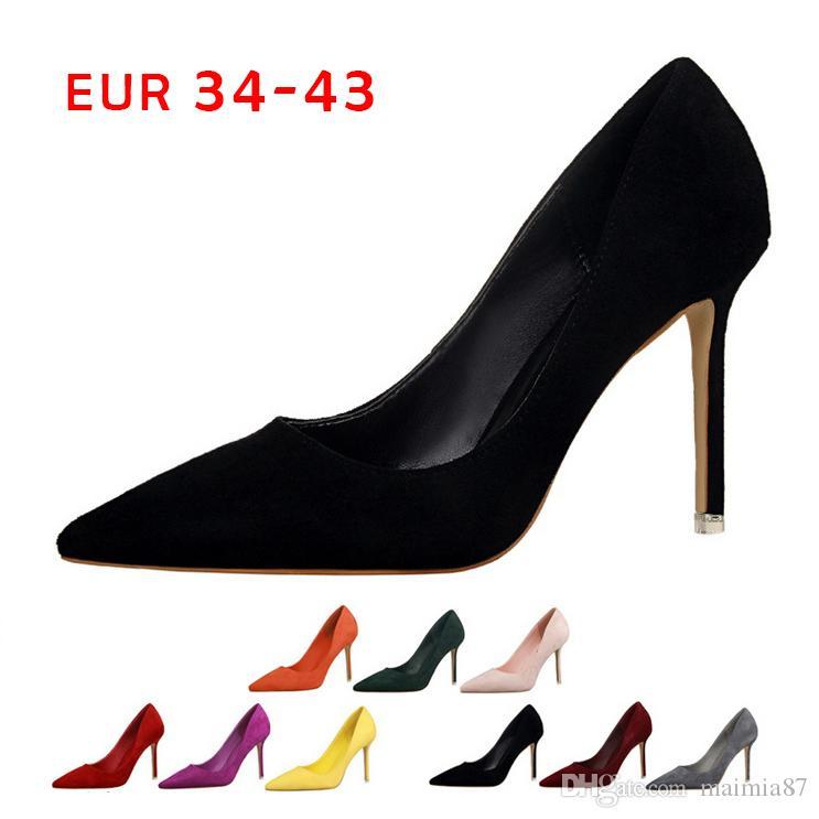 EUR34-43 9Colors Lady Micro Suede-Kleid-Schuhe Side Open Design Frauen-spitze Zehe dünne hohe Absätze Sexy Party-rote Hochzeit Schuhe Frauen-Pumpen