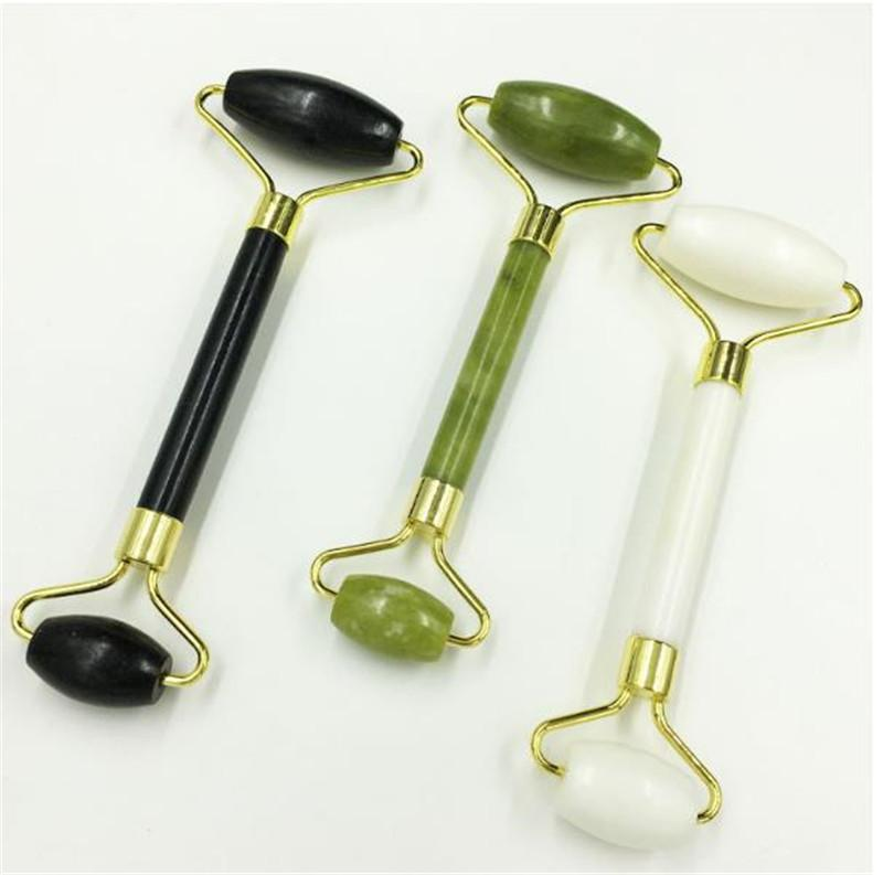 أبيض / أسود / أخضر الطبيعية الوجه تدليك اليشم الرول الوجه رقيقة مدلك الوزن تفقد أدوات تزيين وتجميل DHL الشحن