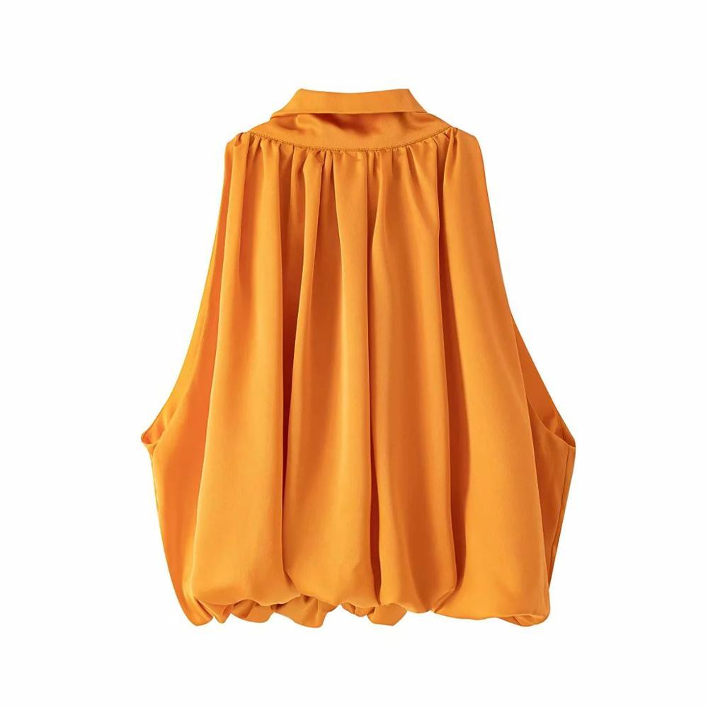 2020 été femme T-shirts Tops tie-cou élégant drapé orange manches Casual Femme Femme T-shirts Ropa Mujer