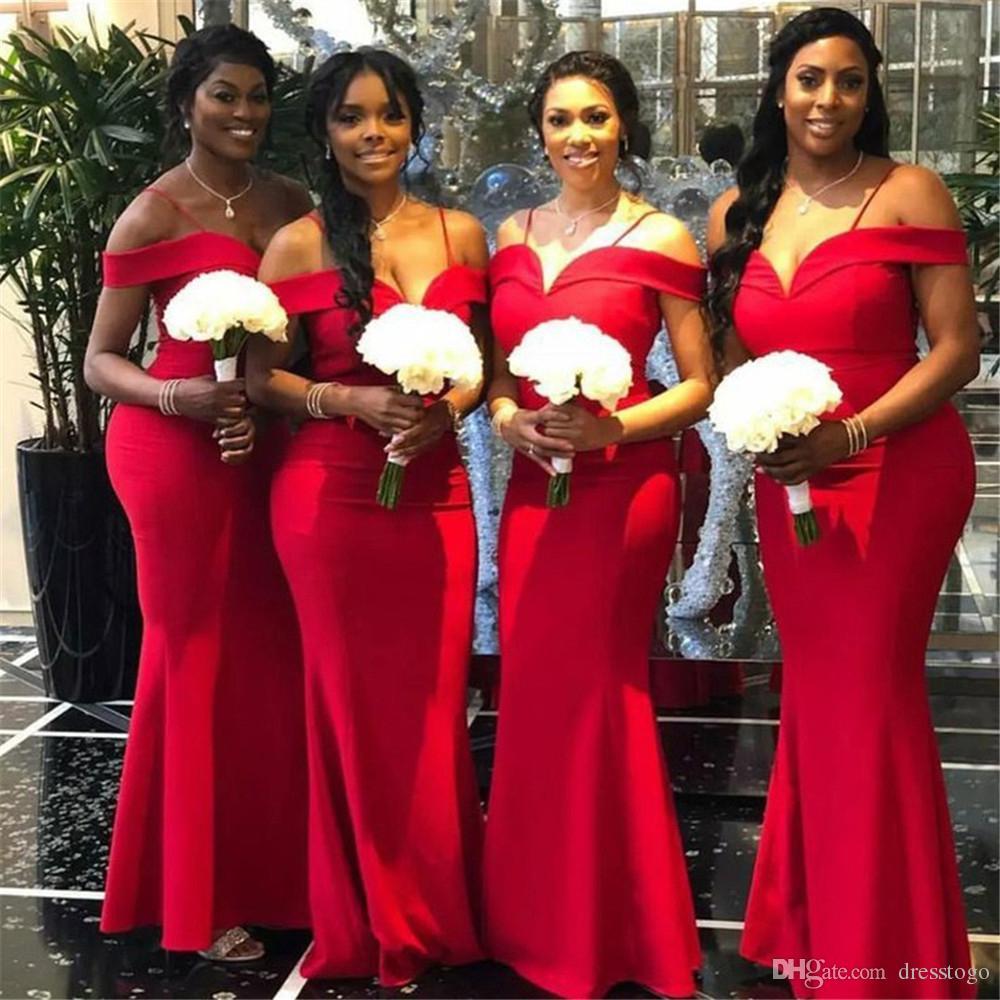 Compre Sexy Fuera Del Hombro Vestidos De Dama De Honor Rojos 2019 Rojo Satinado Largo Sirena Dama De Honor Vestido Para Las Mujeres Con Cordones