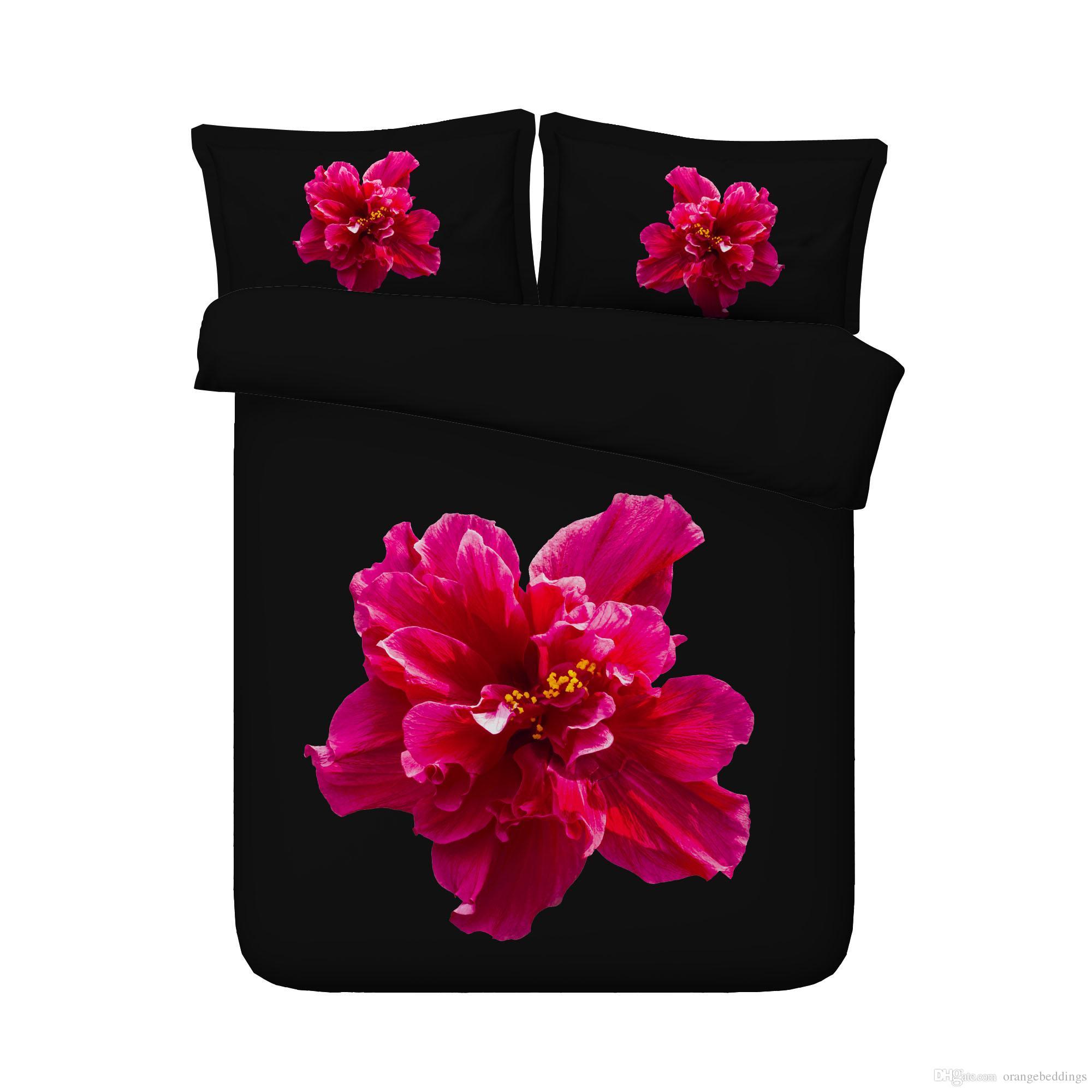 Floral Soft Black Set cama Blossom Consolador capa do edredon Jardim Flor capa de edredão borboleta Colcha Mulheres menina colorida Tampa Bed Rose
