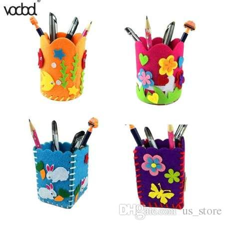 Children DIY Pencil Holder Craft Kits DIY Cute Creative Handmade Pen Container Children Baby Educational Toys Early Childhood