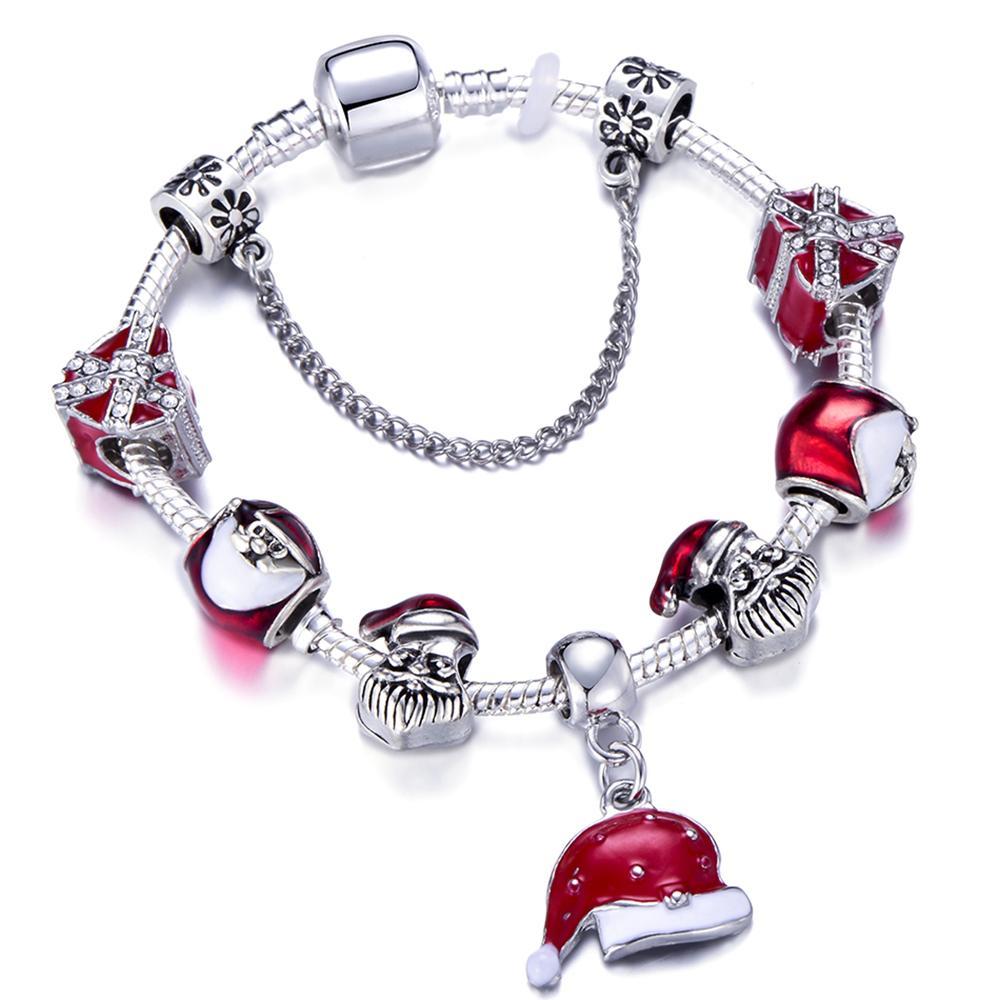 Acheter 2019 Bracelet À Breloques De Noël Les Femmes Avec Le Père Noël Et  Les Perles De Sapin De Noël Conviennent Au Bracelet Pandora De 5,69 € Du ...