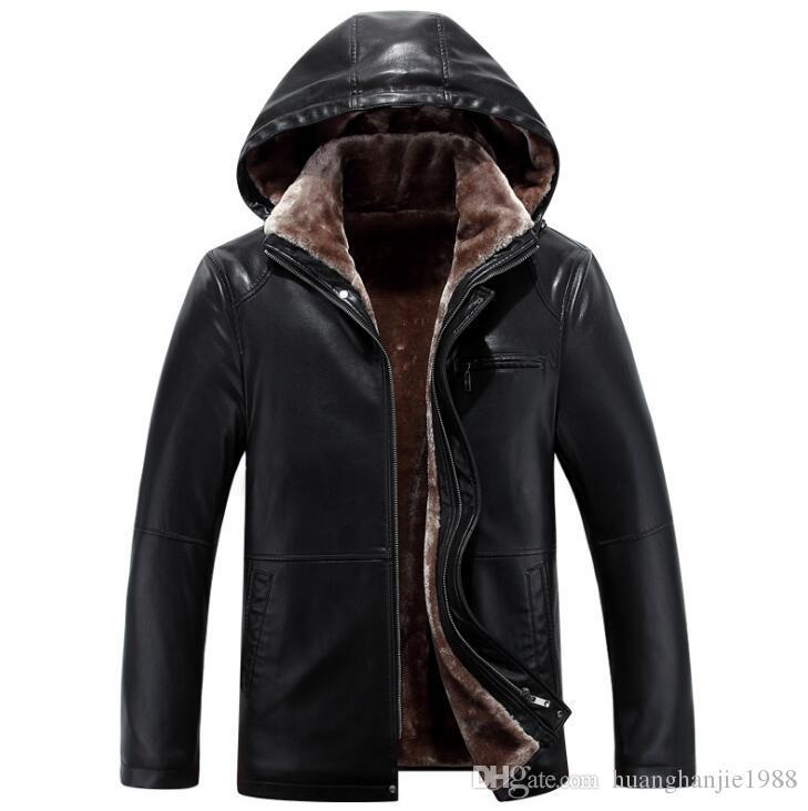 Chaqueta de cuero de la marca de los nuevos hombres CALIENTES outwear hombres abrigo de cuello de pieles gruesas abrigos de chaqueta de invierno más TAMAÑO M-4XL