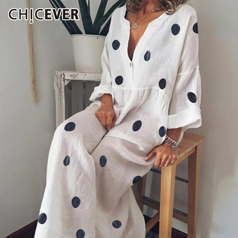 Cicever Bohemian Dot Print Hit Color платье для женщин V-образным вырезом три четверти рукав плюс размер свободных максимальных платьев женщин 2020 новый
