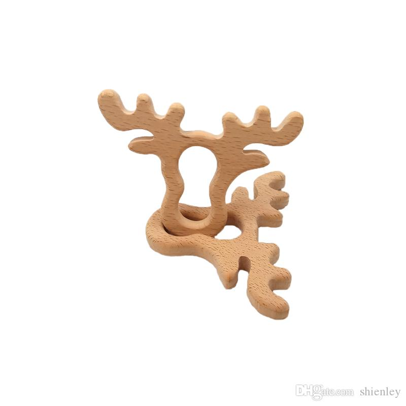 4pcs Beech Wooden Antlers Teether Animal Shaped Baby Teethers Infants Teething Toys Baby Accessories For Baby Necklace Making