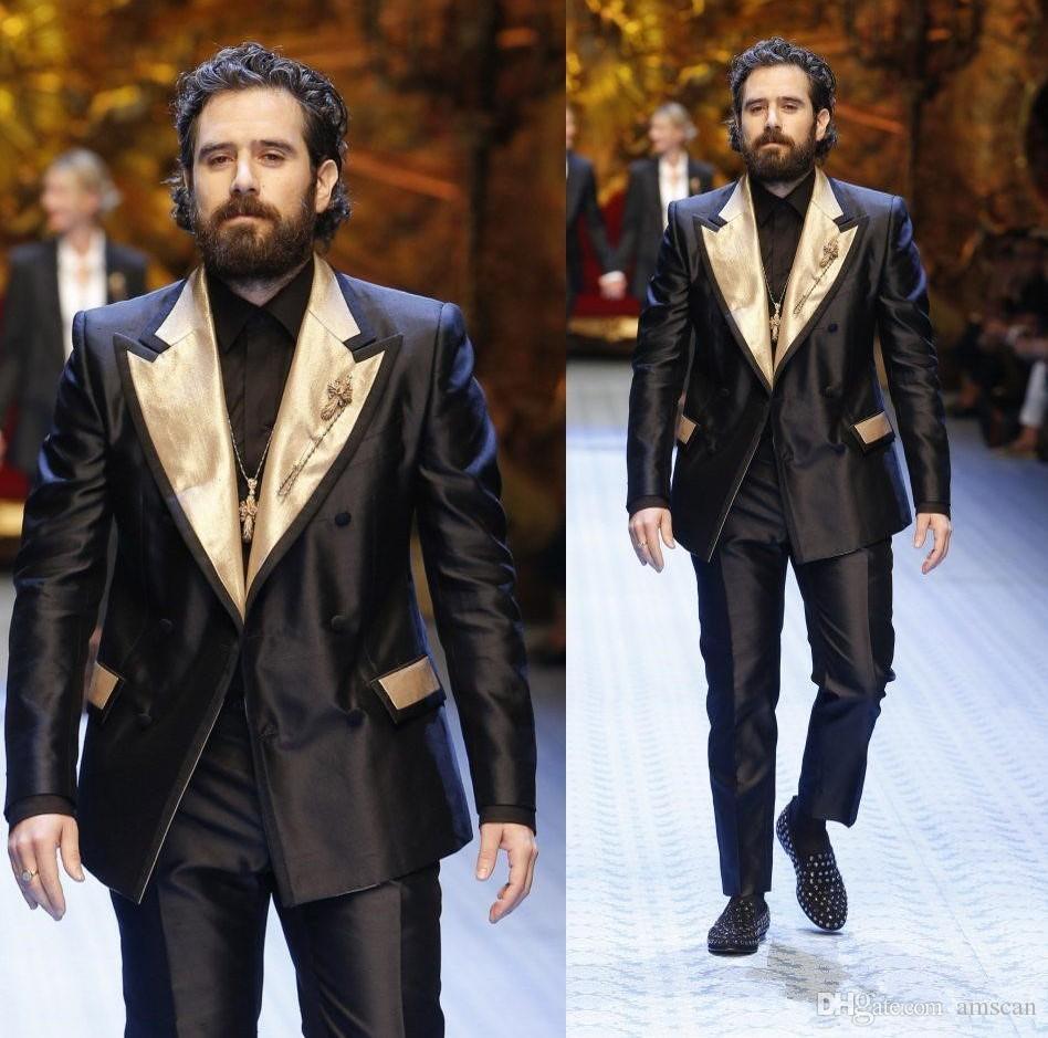 أعلى جودة الدعاوى قطعتين رجالي مصمم البدلة مخصص الذهب التلبيب العريس البدلات الرسمية لحفلات الزفاف أفضل رجل الدعاوى (سترة + سروال) YM