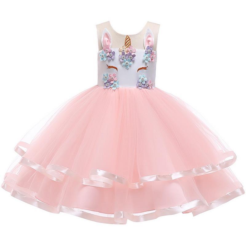 Девочки платья Unicorn Jumper юбка шнурка принцессы платье Туту юбки Формальная партии Свадебные одежды Дети Дизайнер одежды
