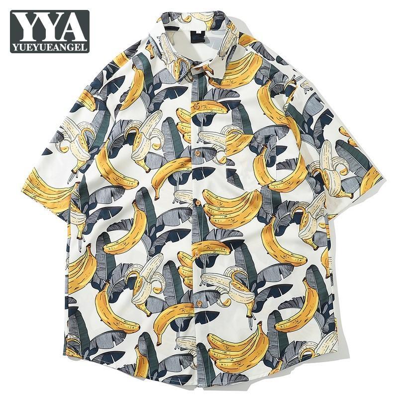 Vacanze Mens Tops Loose Fit camicia casuale Estate Hawaii personalità Stampato Button Camicie 2020 Beach manica corta da uomo Abbigliamento