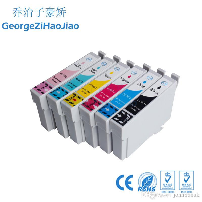 6 ADET mürekkep kartuşları T0801 T0802 T0803 T0804 T0805 T0806 ile uyumlu Epson PX650 PX660 PX700W PX710W PX720WD PX800FW