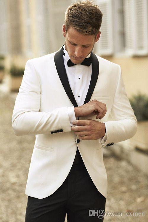 Custom Ivory Men Suits with Black Shawl Lapel Wedding Tuxedos Groom Suits Best Men Suits Prom Jacket+Pants