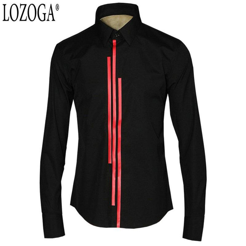 Lozoga 2019 New Men Shirt Preppy Style Tuxedo Shirts Slim 2 Color White and Black Large Size 48 Mens Shirts China Quality