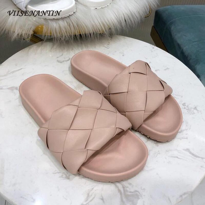 New tissé Slipper chaussures plates en cuir à bout ouvert en peau de mouton rose bleu Mulets en cuir véritable confortable causales Sandales plage de chaussures