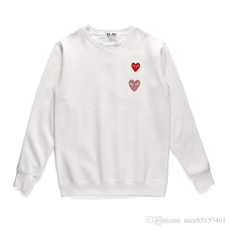 Otoño 2019 Diamantes CDG juegos de dobles del corazón de los hombres con capucha roja del corazón bordado del corazón sudadera pulóver grueso jersey de O-Cuello Feece Sportswear