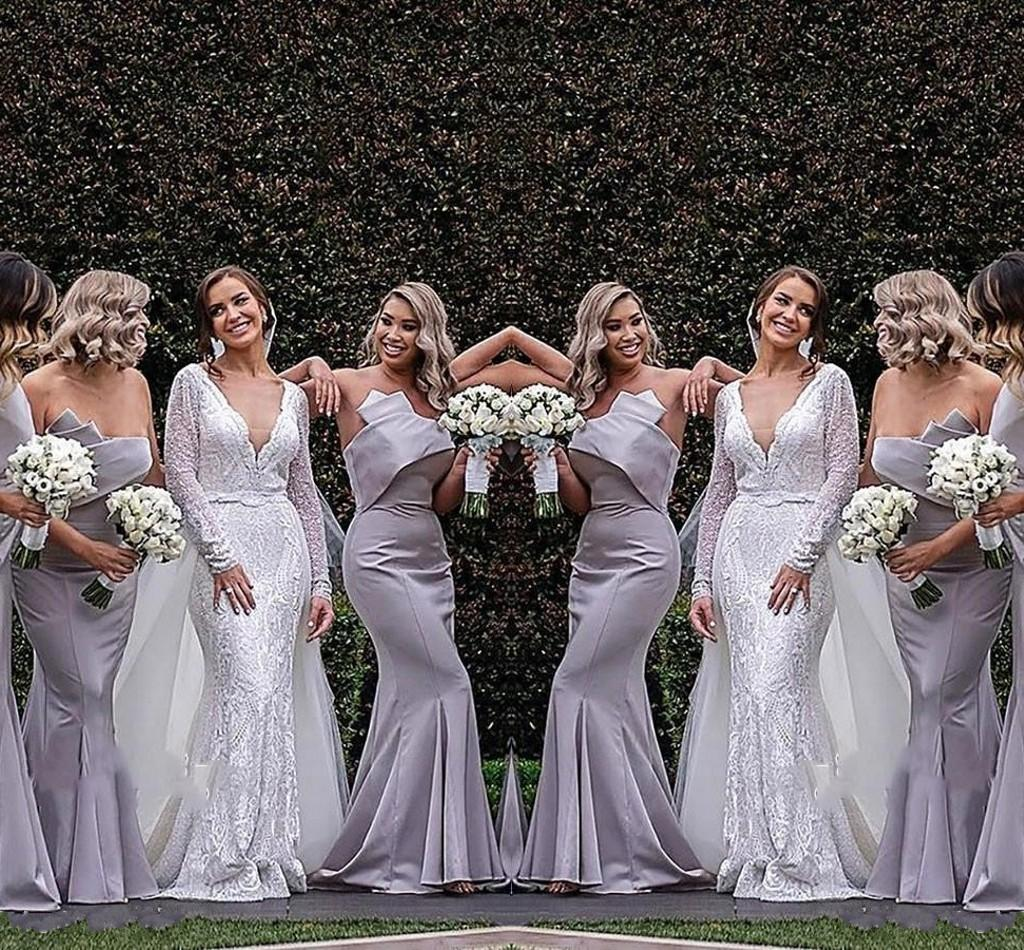 Cheap Mermaid Bridesmaid Dresses Strapless Pleats Floor Length Wedding Guest Dress Maid of Honor robe robes de demoiselle d'honneur