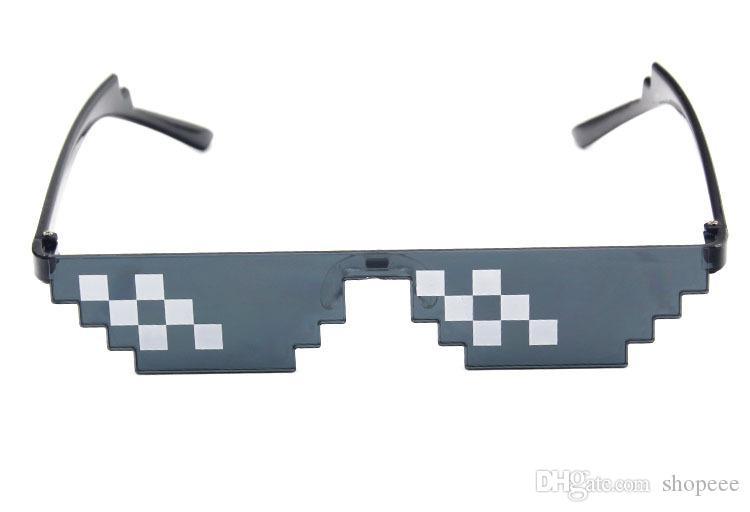 100PCS 2019 패션 S002 새로운 스타일의 모자이크 선글라스 두 번째 요소로드 유물 코딩 직사각형 픽셀 sunglassesGeneral 목적