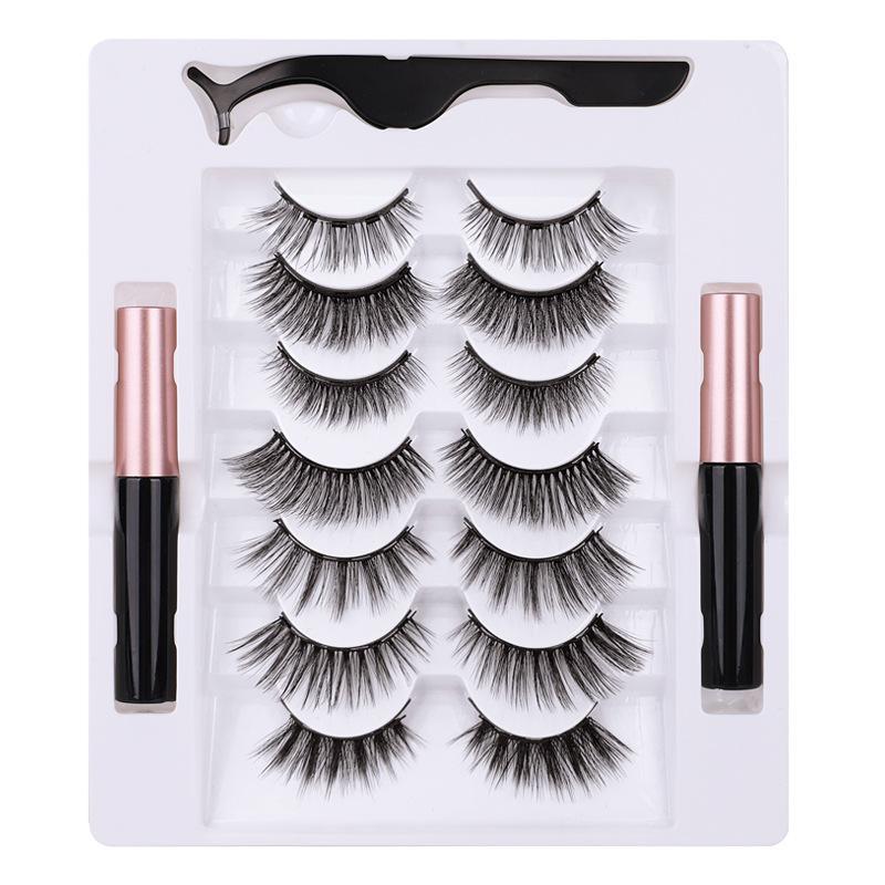 Magnetic eyelashes set 2 magnetic eyeliner liquid new magnet eyelashes multi-pair magnetic lashes