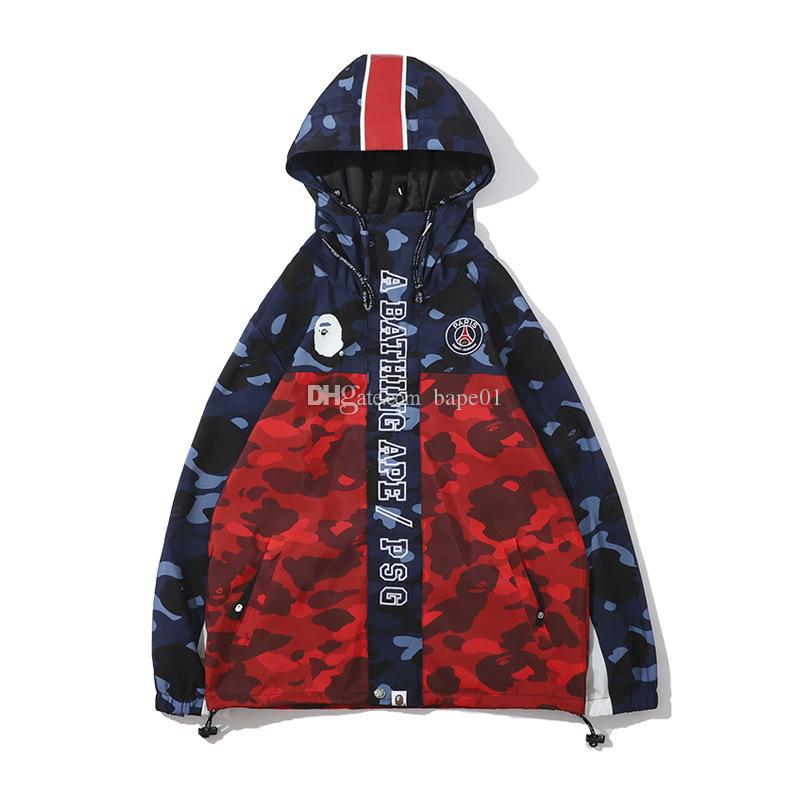 بابي وصول جديد رجل المصمم هوديي سترة الجديد مقنع خندق معطف رجالي المصمم التمويه طباعة معطف الحجم M-2XL