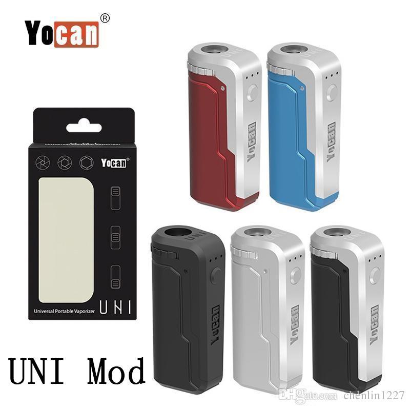 Аутентичные yocan uni box mod 650mah предварительно нагрев vv вариабельный напряжение аккумулятор подходит всем диаметром с адаптером магнитного 510 для толстого масляного картриджа