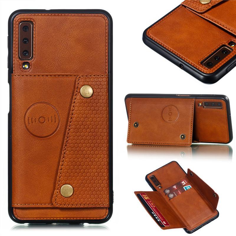 PU de la carpeta de cuero del soporte de coche soporte magnético de teléfono del caso para Samsung Galaxy S8 S9 S10 Plus Nota 10 A6 A7 J4 J6 Plus 2018 Ranura para tarjeta de la cubierta del tirón