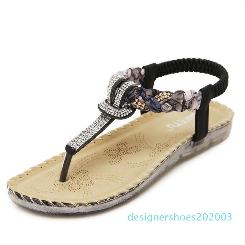 UMMEWALO Yaz Sandalet Kadın T-kayışı Ayaklı Thong Sandalet Tasarımcı Elastik Bant Bayanlar Gladyatör Sandal Ayakkabı Zapatos Mujer D03 Flops
