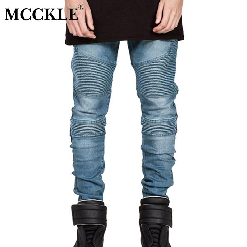 MCCKLE Hi-Street Mens rasgado Rider motociclista Jeans Moto Slim Fit Lavados Preto Azul Cinzento Moto Denim Pants Corredores Homens magros