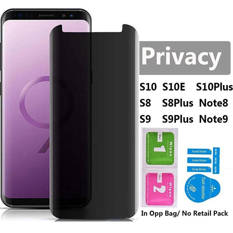 3D caso de usar vidrio templado curvado Protector anti espía Film Protector de pantalla para Samsung Galaxy S10 S9 S8 Plus Nota 8 9 NOTA NOTA 10 PRO