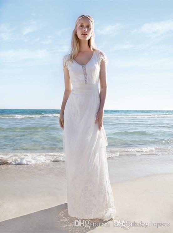 Lace Brautkleider mit Flügelärmeln V-Ausschnitt Günstige Brautkleider A-Line bodenlangen Brautkleid