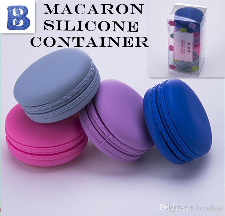 Macaron Contenitore in silicone diametro 53mm 4 pezzi per scatola Contenitore in silicone Vasetti Dabs contenitori in cera Erba secca FDA Contenitori in silicone Scatola Vaporizzatore
