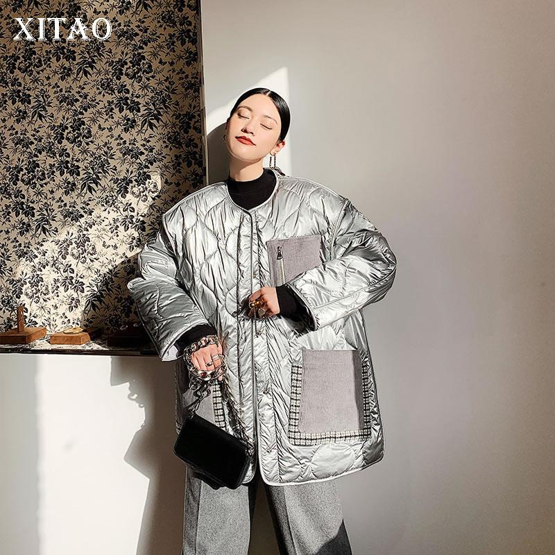 Xitao rayada floja Parkas la moda de Nueva 2019 remiendo del bolsillo de invierno manga completa fresca pequeña más el tamaño de la minoría Parque XJ3036 Escudo