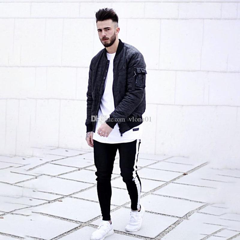 Vente en gros Hot-Mode Hommes Designer Jeans de haute qualité Pantalon rayé Tight tendance Hip Hop Hommes Jeans Slim