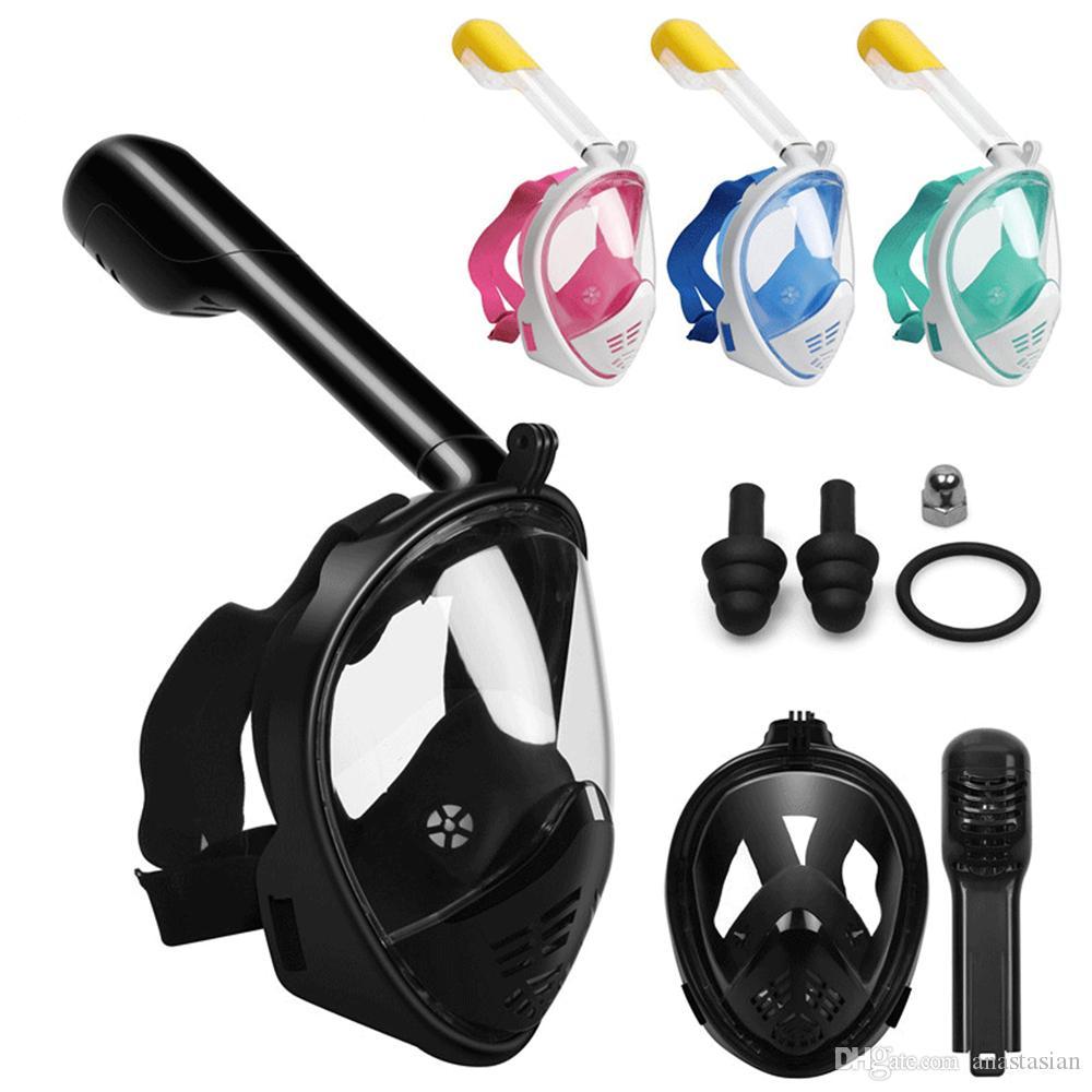 Dalış Maskesi Sualtı Tüplü Anti Sis Tam Yüz Dalış Maskesi Şnorkel Kaymaz Halka Şnorkel ile Set Yeni Varış