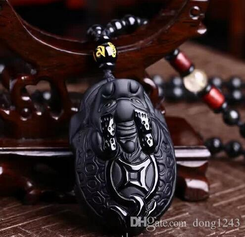 51x33mm handmade beautiful black Natural obsidian carved big PiXiu luck amulet pendant + fashion necklace very jewelry